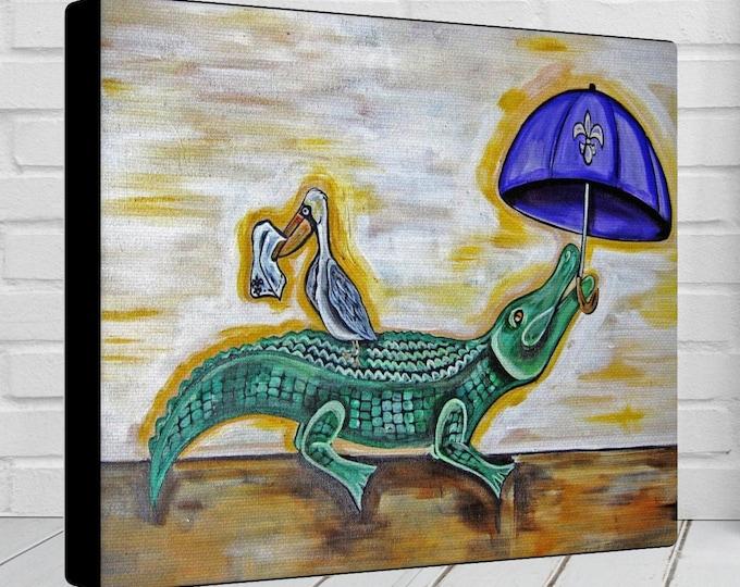 Alligator & Pelican | Parading Canvas Gallery Wrap