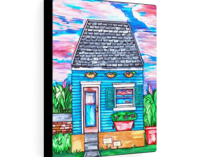 The Blue Cottage | Various Sizes | Architectural Art | Home Decor | Canvas Gallery Wrap | Wall Art | Reproduction