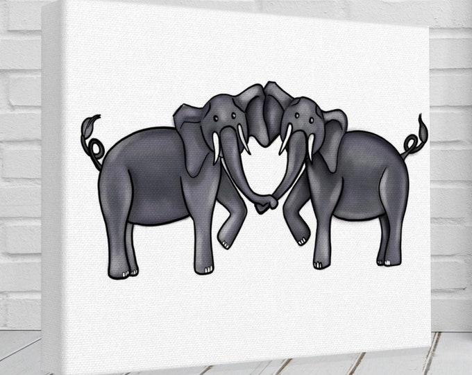 Elephant Heart In White | Various Sizes | Children's - Nursery Art | Home Decor | Canvas Gallery Wrap | Wall Art | White Elephant Artwork