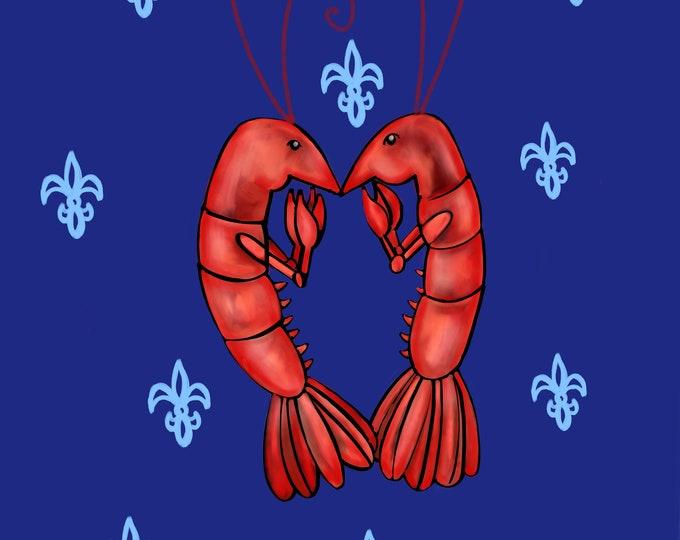 Crawfish Heart | Navy and  Blue Fleur De Lis | Canvas Gallery Wraps