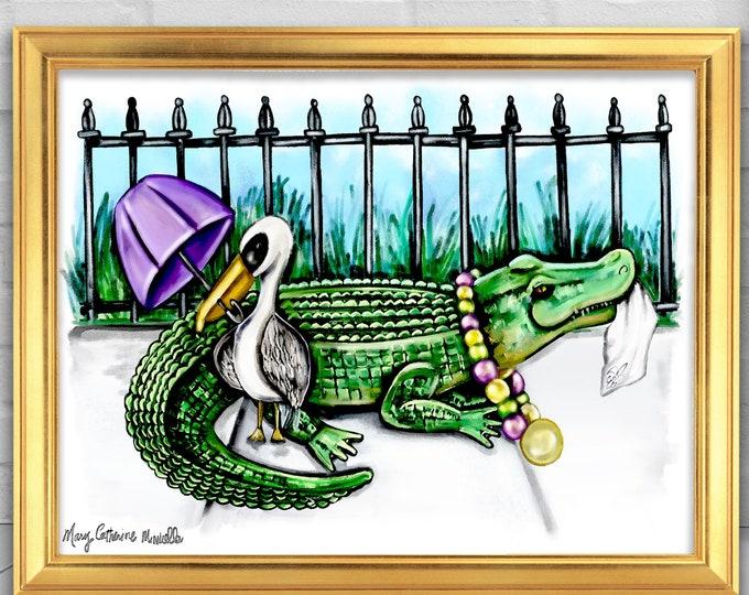 Parading Pelican & Alligator | Premium Matte Horizontal Poster | Watercolor Nurser Wall Art Decor