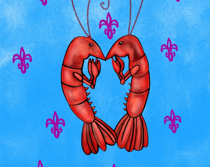 Crawfish Heart | Blue and Purple | Canvas Gallery Wraps