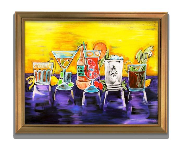 Cocktail Hour Fine Art Print, Blood Mary, Sazerac, Beer, Sazerac, Hurricane, Martini Decor, Yellow & Purple Cocktail  WallArt, Various Sizes