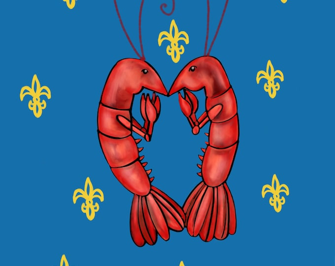 Crawfish Heart | Blue and Yellow Fleur De Lis | Canvas Gallery Wraps