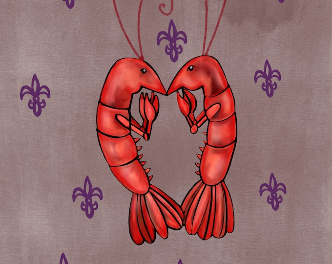 Crawfish Heart | Dark Gray and Purple Fleur De Lis | Canvas Gallery Wraps