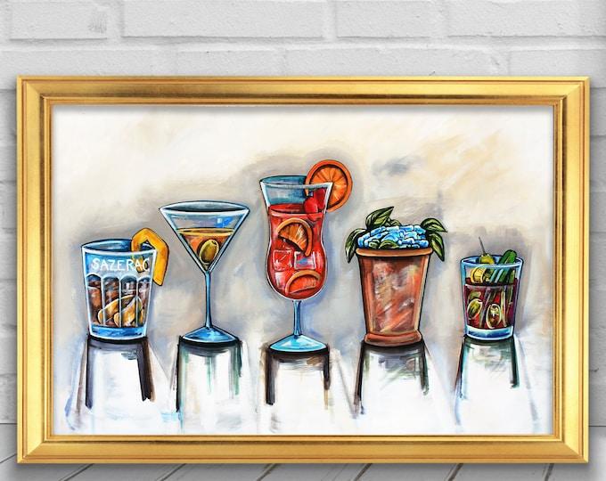 Cocktail   Premium Matte Horizontal Poster Print   Sazerac, Martini, Hurricane, Mint Julep, & Blood Mary Wall Art Decor   Various Sizes