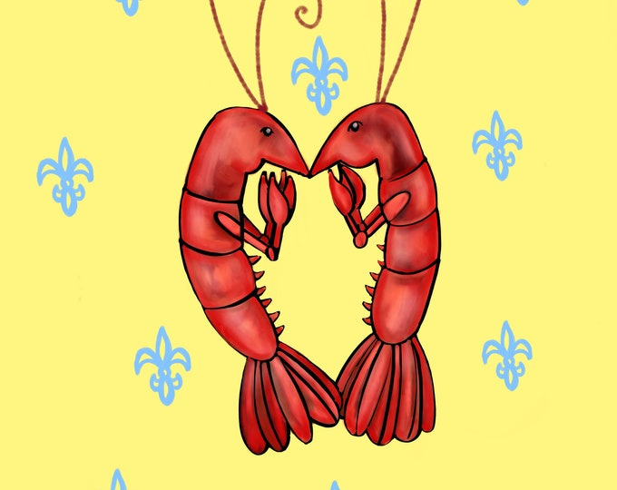 Crawfish Heart | Yellow and Blue Fleur De Lis | Canvas Gallery Wraps