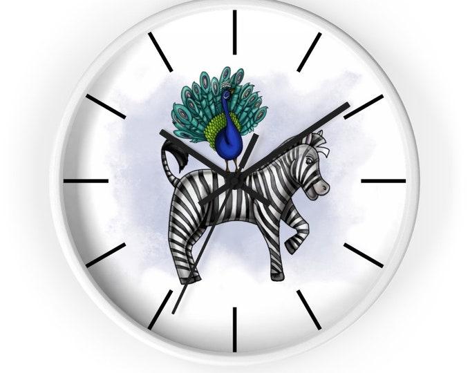 Peacock and Zebra Wall clock | Various Colors