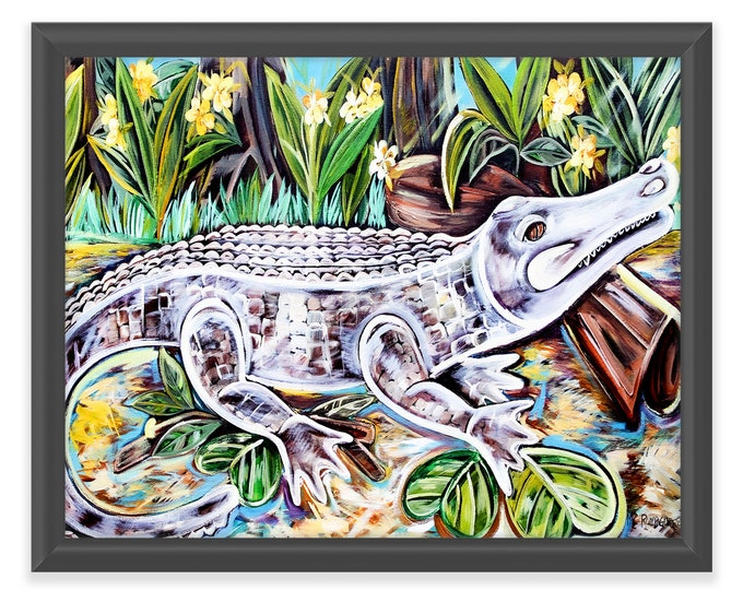 Sunbathing White Alligator | Premium Matte Horizontal Print | Various Sizes