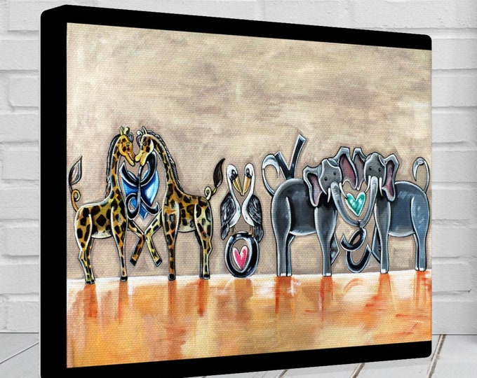 Love It! | Various Sizes | Children's - Nursery Art | Home Decor | Canvas Gallery Wrap | Wall Art | Beige and Orange Artwork