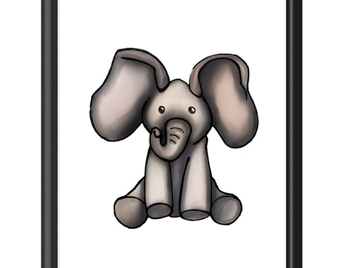 Elephant Cuddles | Premium Vertical Print | Watercolor Nursery Art | Various Sizes