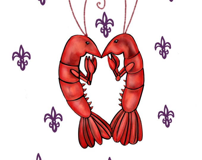 Crawfish Heart | White and Purple Fleur De Lis | Canvas Gallery Wraps