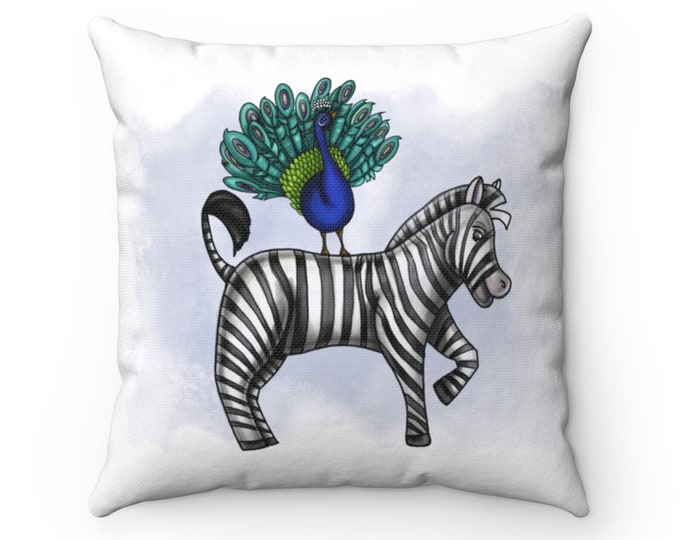 Peacock and Zebra | Spun Polyester Square Pillow | Various Sizes