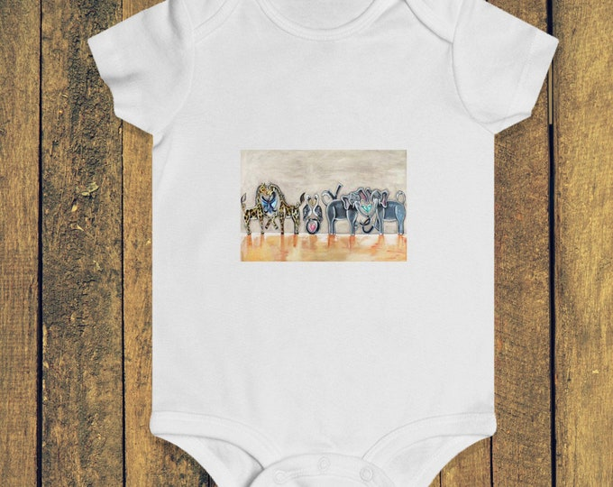 Love It! | Infant Rip Snap Tee | White Cotton Animal