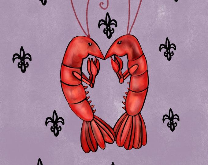 Crawfish Heart | Grey and Black Fleur De Lis | Canvas Gallery Wraps