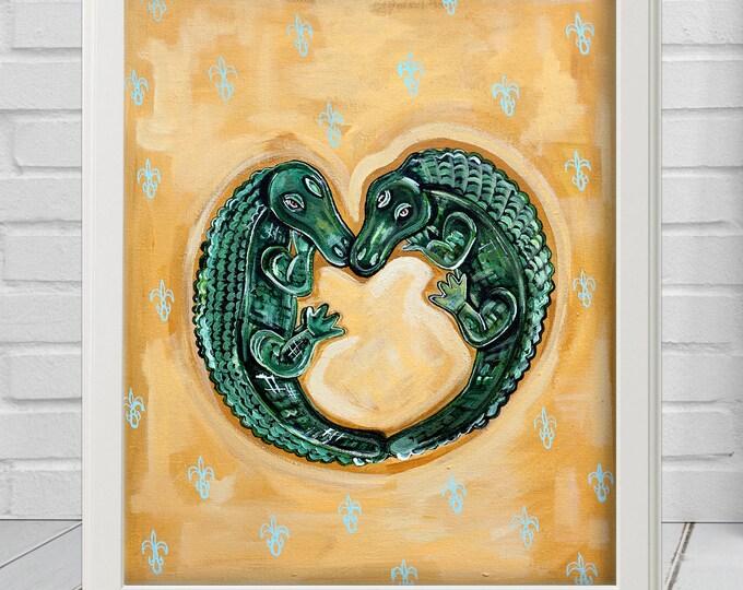 Alligator Heart | Premium Matte Print | Various Sizes | Children Art | Wall Decor | Yellow Wall Art | Louisiana Art