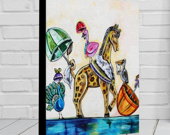 Happy Second Line | Various Sizes | Children's - Nursery Art | Home Decor | Canvas Gallery Wrap | Wall Art | Parading Animal Art