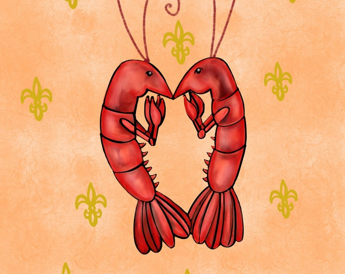 Crawfish Heart | Peach and Yellow Fleur De Lis | Canvas Gallery Wraps