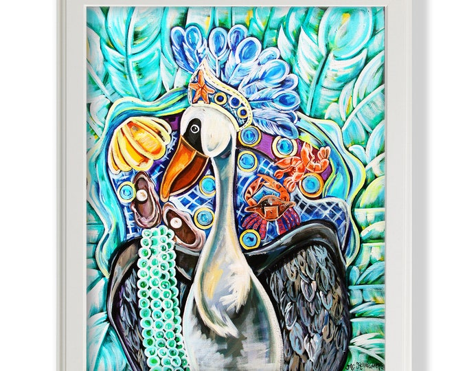 Pelican As A Maid | Premium Matte Print | Various Sizes | Children Art | Nursery Wall Decor | Wall Decor | Mardi Gras Pelican Artwork