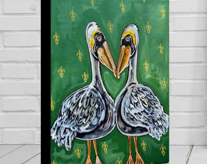 Pelican Heart | Various Sizes | Children's - Nursery Art | Home Decor | Canvas Gallery Wrap | Wall Art | Green Louisiana Art