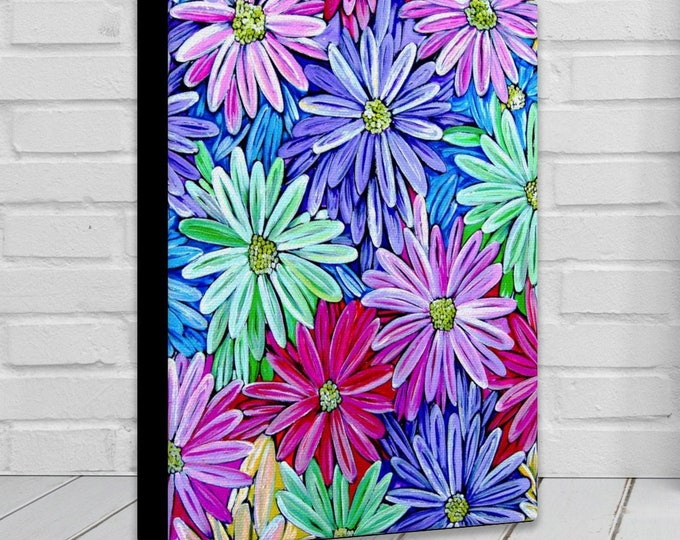 Bright As A Daisy | Canvas Gallery Wraps | Vibrant Floral Wall Art Decor | Various Sizes