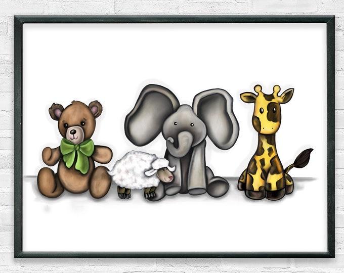 Best Friends | Premium Matte Horizontal Print | Animal Nursery Art | Various Sizes