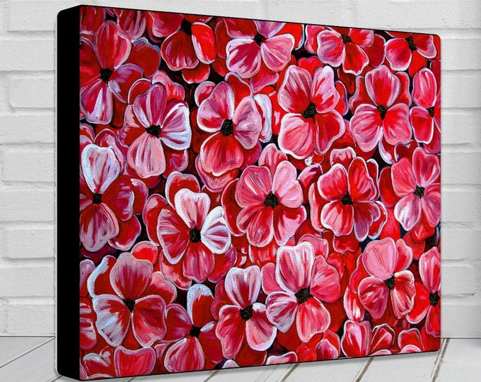 Poppies | Canvas Gallery Wraps | Red Vibrant Wall Decor | Floral Print | Wall Art | Various Sizes