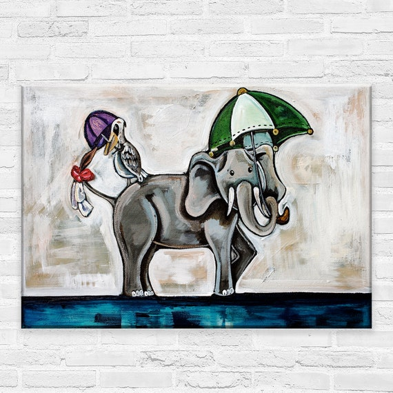 Dancing On The Line | Canvas Gallery Wraps | Elephant and Pelican Parading Animal Wall Art | Various Sizes
