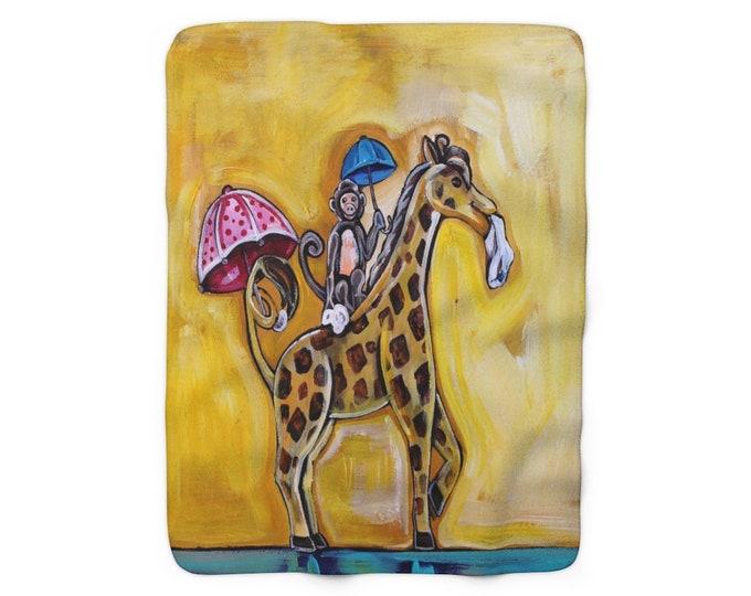 Monkey and Giraffe | Sherpa Fleece Blanket | Second Line