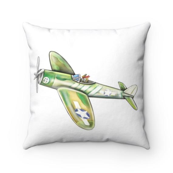 Pelican Airforce | Spun Polyester Square Pillow | Pelican Decor, Airplane Theme Nursery or Kids Decor | Various Sizes