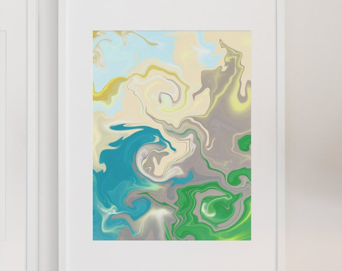 Under Water | Abstract Green and Blue | Premium Matte Vertical Print