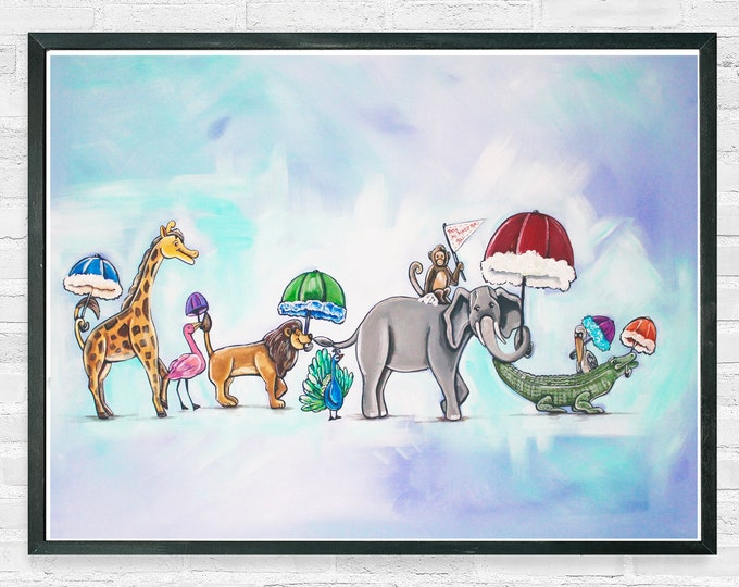 Featured listing image: They All Asked For You In Blue | Premium Matte Horizontal Poster | Parading Animal | Various Sizes