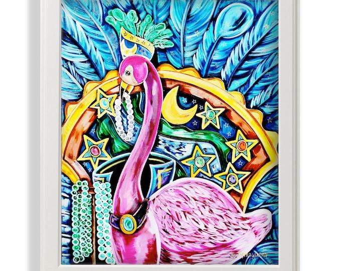 Featured listing image: Flamingo Maid |  Premium Matte Print | Various Sizes | Children Art | Wall Decor | Mardi Gras Artwork | Flamingo Wall Decor