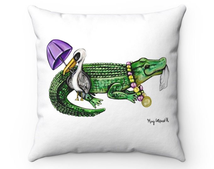 Featured listing image: Parading Pelican and Alligator Sketch | Spun Polyester Square Pillow