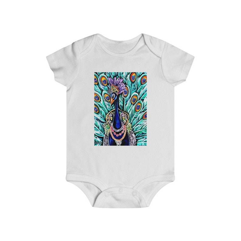 12m 18m Infant Rip Snap Tee 24m White and Blue Cotton Mardi Gras Onesies Baby Bodysuit Various Sizes: 6m Peacock Maid