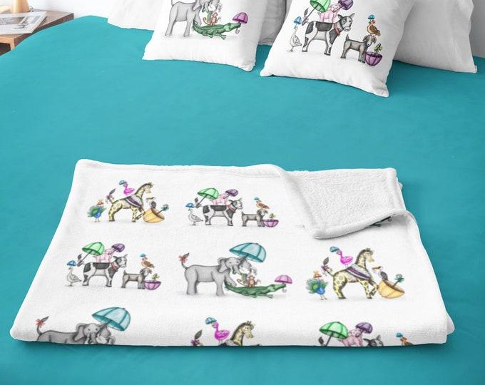 Parading Animal Second Line Sherpa Fleece Blanket | Animal Parading Theme