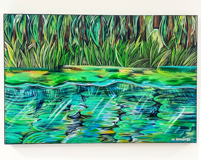 Colorful Bayou Original Acrylic Painting | Large Wall Art Decor | Louisiana Art