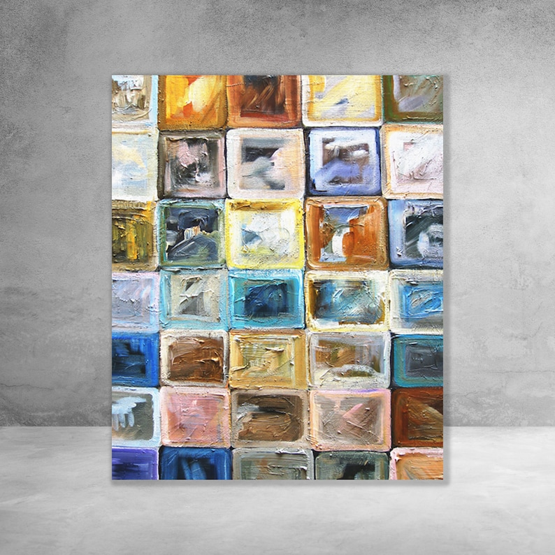 Block It  Modern Abstract Wall Art Decor  Canvas Gallery image 0