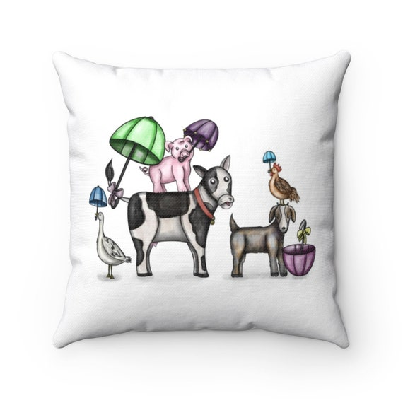 Barnyard Second Line Pillow | Spun Polyester Square Pillow | Prefect Nursery Decor or Childrens Gift | Various Sizes