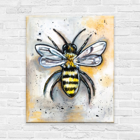 "Study Of A Bee | Acrylic on Canvas | Original Art | 8"" by 10"" canvas 