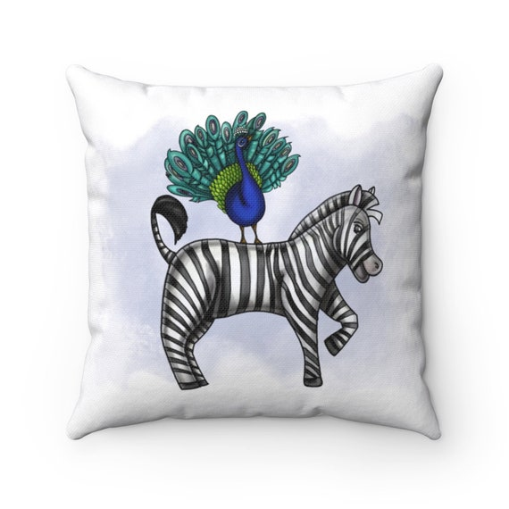 Peacock and Zebra | Spun Polyester Square Pillow | Various Sizes