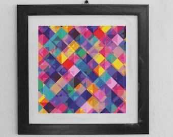 Multicoloured Geo Cross Stitch Pattern - Instant PDF download