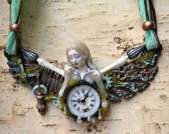 "Steampunk Necklace  ""Time"" one of a kind / Vintage Porcelain Clock Face pendant"
