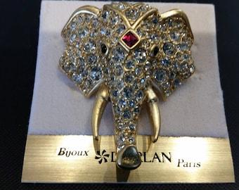 D/'Orlan-BT Elephant Brooch Designer Signed New Matte finish with handset Multi Stones Carded