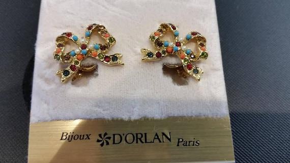Vintage signed D\u2019orlan buried treasure clip on earrings multicoloured stones and pearls
