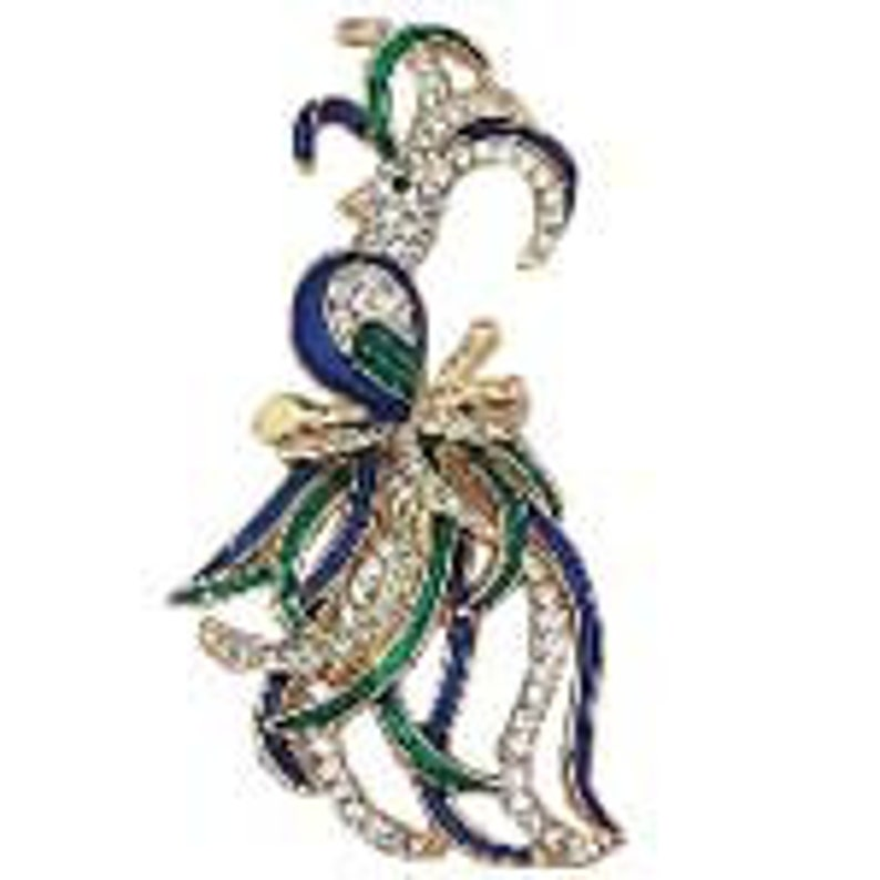 Lead and nickel free la Scala Triple 22kt gold plated with hand painted bluegreen enamel and handset crystals