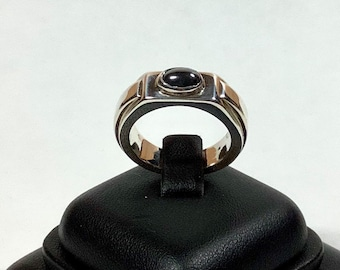 Handmade hematite and heavy sterling silver ring