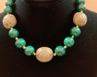 Malachite and gold vermeil bead necklace