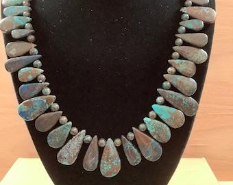 Azurite teardrop necklace