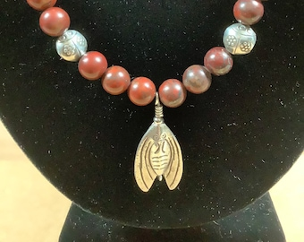 Jasper necklace with Hill Tribe silver lady bugs and a fly